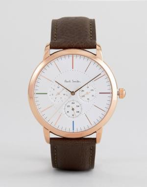 Paul Smith Часы с кожаным коричневым ремешком и хронографом P10112 MA. Цвет: коричневый