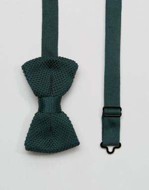 7X Вязаный галстук-бабочка цвета хаки в футляре. Цвет: зеленый