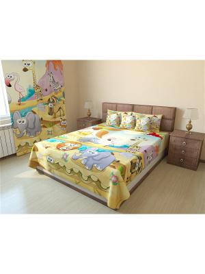 Фотопокрывало  Габардин 215X150 Олимп Текстиль. Цвет: зеленый, бронзовый, светло-коричневый, коралловый, оранжевый