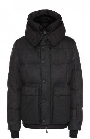 Утепленная шерстяная куртка с манжетами Moncler. Цвет: темно-серый