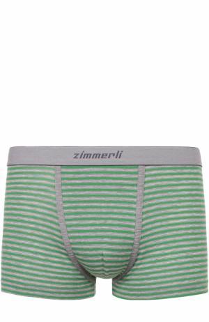 Хлопковые боксеры с широкой резинкой Zimmerli. Цвет: зеленый