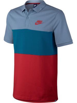 Футболка-поло M NSW POLO PQ MATCHUP CLRBLK Nike. Цвет: синий, красный