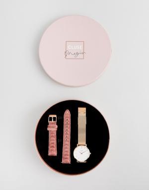 Cluse Подарочный набор с часами и сменными ремешками X Negin CLG006 Mi. Цвет: золотой