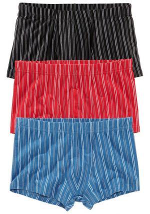 Боксерские трусы, 3 штуки LE JOGGER. Цвет: 3х черный, черный+зеленый+лиловый, черный+красный+синий