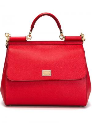 Большая сумка-тоут  Sicily Dolce & Gabbana. Цвет: красный