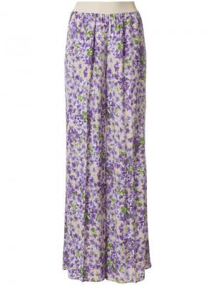 Расклешенные брюки с цветочным принтом Twin-Set. Цвет: розовый и фиолетовый