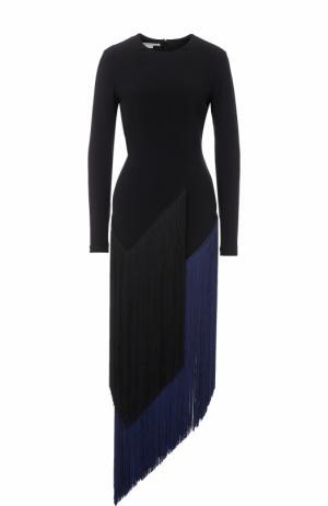 Приталенное платье-миди с длинным рукавом и бахромой Stella McCartney. Цвет: черный