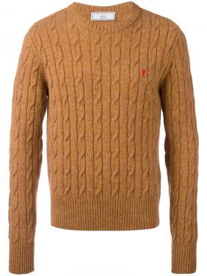 Вязаный свитер с косами Ami de Cœur Alexandre Mattiussi. Цвет: жёлтый и оранжевый