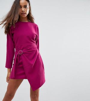ASOS Petite Платье мини с запахом на юбке и рукавами летучая мышь. Цвет: фиолетовый