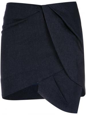 Asymmetric mini skirt Giuliana Romanno. Цвет: синий