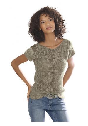Пуловер с короткими рукавами Linea Tesini. Цвет: хаки
