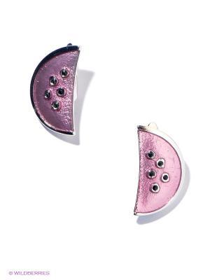 Серьги Jenavi. Цвет: розовый, черный, серебристый