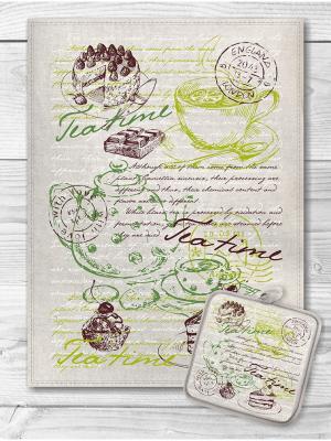 Набор кухонный Чайная тема GrandStyle. Цвет: зеленый, светло-зеленый, коричневый