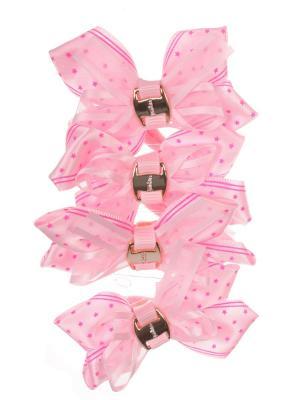 Резинки бантики со звездочкой, светло розовый, набор 4 шт Радужки. Цвет: бледно-розовый