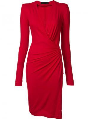 Платье с запахом Alexandre Vauthier. Цвет: красный