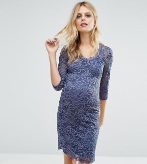 Mama.licious Кружевное платье для беременных Mamalicious. Цвет: синий