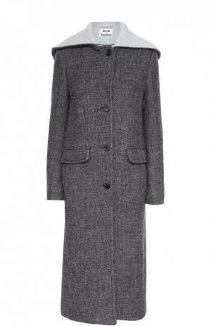 Удлиненное шерстяное пальто с капюшоном Acne Studios. Цвет: черно-белый