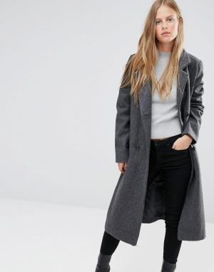 Ganni Длинное шерстяное пальто с поясом Malin. Цвет: белый