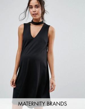 New Look Maternity Платье с лентой на шее для беременных. Цвет: черный