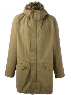 Пальто с капюшоном Yves Salomon. Цвет: зелёный