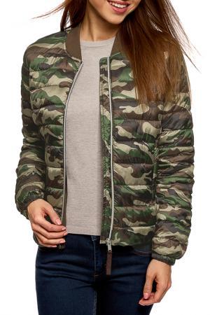 Куртка oodji. Цвет: хаки, темно-зеленый