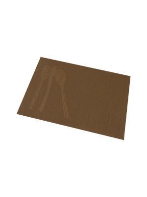 Набор 4-х салфеток Столовые приборы на шоколадном Elan Gallery. Цвет: коричневый