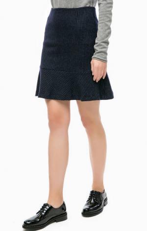 Шерстяная юбка в полоску MORE &. Цвет: синий