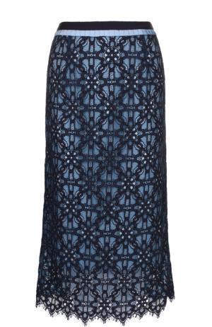 Кружевная юбка-миди с контрастным поясом Tara Jarmon. Цвет: темно-синий