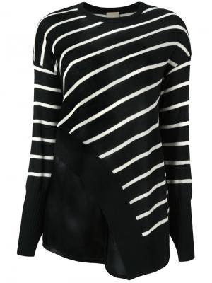 Асимметричная блузка в полоску Nude. Цвет: чёрный