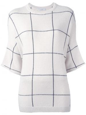 Вязаная футболка с полосками Brunello Cucinelli. Цвет: телесный