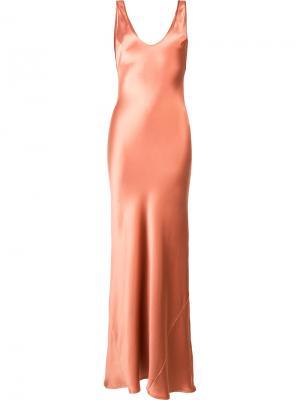Шелковое вечернее платье Galvan. Цвет: коричневый