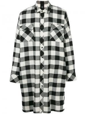 Удлиненная рубашка в клетку D.Gnak. Цвет: чёрный