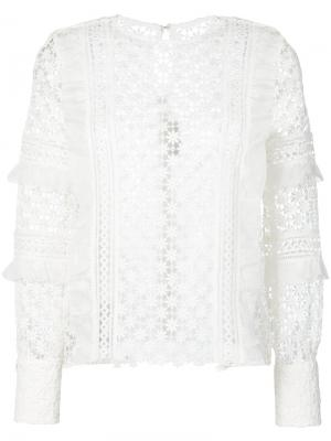 Блузка с оборками и узором маргариток Self-Portrait. Цвет: белый