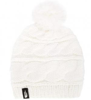 Белая шапка из акрила The North Face. Цвет: белый