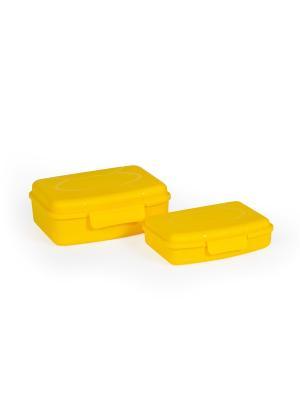 Набор из 2х контейнеров для ЛАНЧБОКСа СВЧ Полимербыт. Цвет: желтый