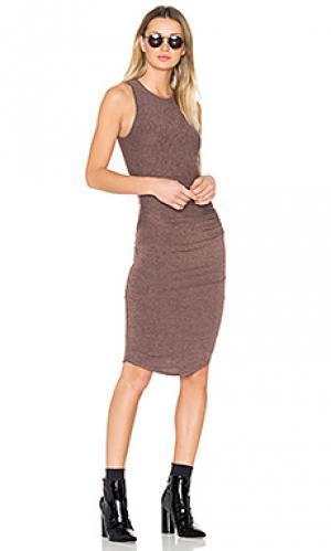 Платье миди portia Riller & Fount. Цвет: коричневый