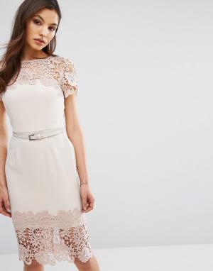 Paper Dolls Платье миди с короткими рукавами и кружевной отделкой. Цвет: розовый