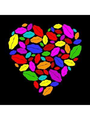 Картина сердце поцелуи Ecoramka. Цвет: черный, зеленый, темно-красный