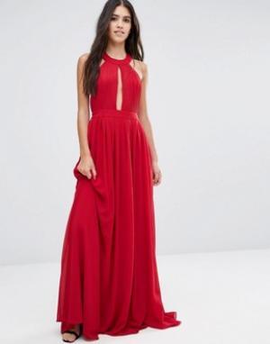 Pixie & Diamond Платье макси с открытой спиной и драпировкой спереди. Цвет: красный