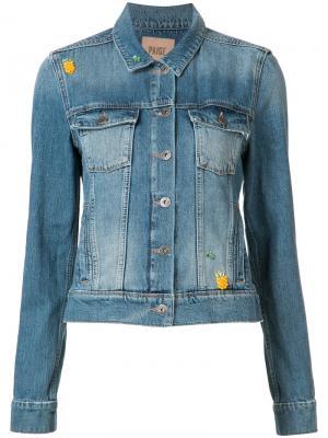Джинсовая куртка с накладными карманами Paige. Цвет: синий