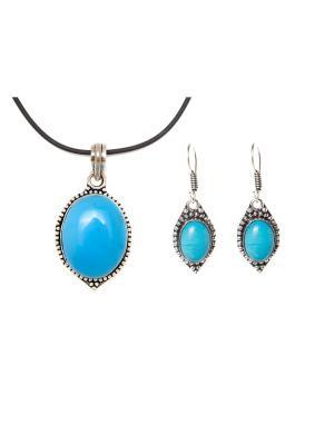 Набор подвеска и серьги Silver&Stone Indira. Цвет: голубой