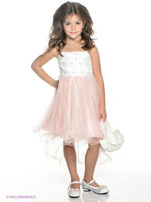 Платье ERKUT. Цвет: бледно-розовый, белый