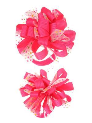 Банты из ленты на резинке в разноцветный полупрозрачный горох, розовый, набор 2 шт Радужки. Цвет: розовый