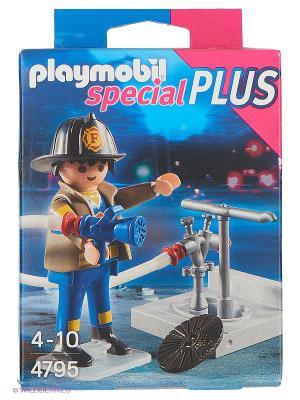 Экстра-набор: Пожарник с гидрантом Playmobil. Цвет: серый, синий
