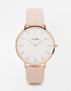 Cluse Часы цвета розового золота с розовым кожаным ремешком La Boheme. Цвет: розовый