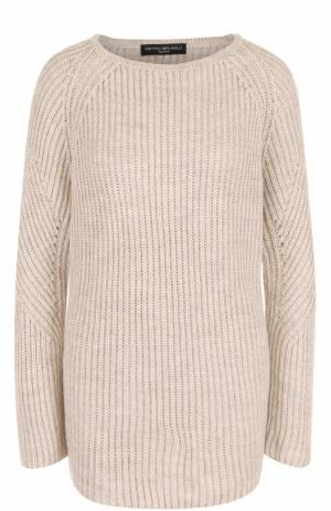 Удлиненный пуловер фактурной вязки Pietro Brunelli. Цвет: бежевый