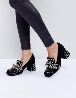 Jeffrey Campbell Черные туфли на каблуке с отделкой заклепками Bernice. Цвет: черный