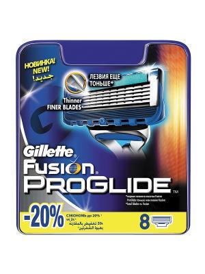 Сменные кассеты для бритья FUSION PROGLIDE, 8 шт GILLETTE. Цвет: синий
