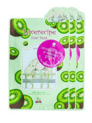 Маска для лица SALLYS BOX с экстрактом киви, х 3 шт. Sally's. Цвет: зеленый