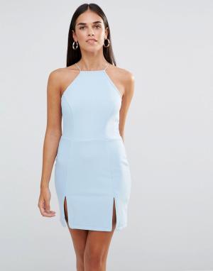 Rare Платье мини с квадратной горловиной и разрезами. Цвет: синий